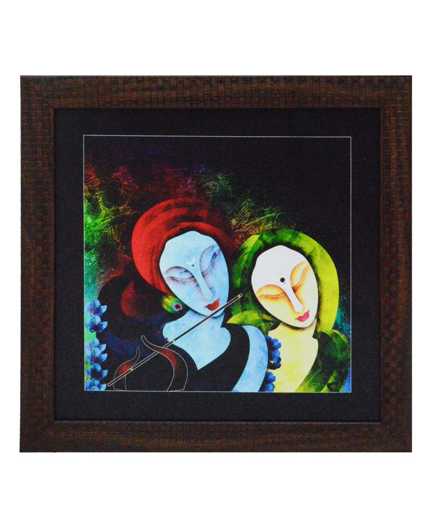 eCraftIndia Radha Krishna playing Flute Satin Matt Texture Framed UV Art Print
