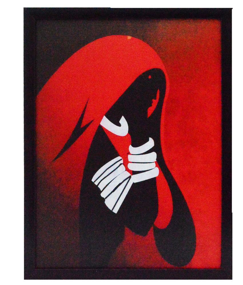 eCraftIndia Abstract Figure Design Satin Matt Texture Framed UV Art Print