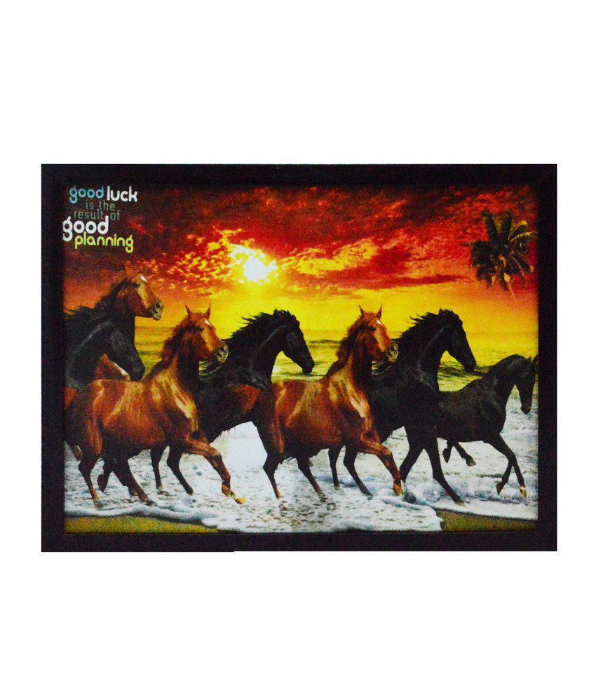 eCraftIndia Running Lucky Horses Design Satin Matt Texture Framed UV Art Print