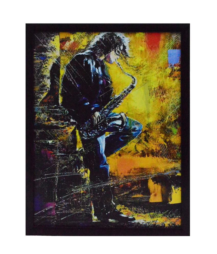 eCraftIndia Musician Boy Satin Matt Texture Framed UV Art Print