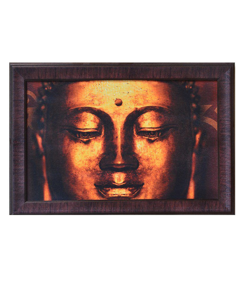 eCraftIndia Yellow and Brown Synthetic Wood Religious Painting