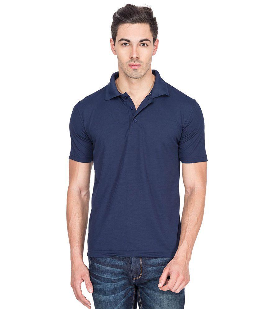 1716ddc3c Billy Buddha Solid Dri-Fit Navy Blue Polo Neck T Shirt - Buy Billy Buddha  Solid Dri-Fit Navy Blue Polo Neck T Shirt Online at Low Price - Snapdeal.com