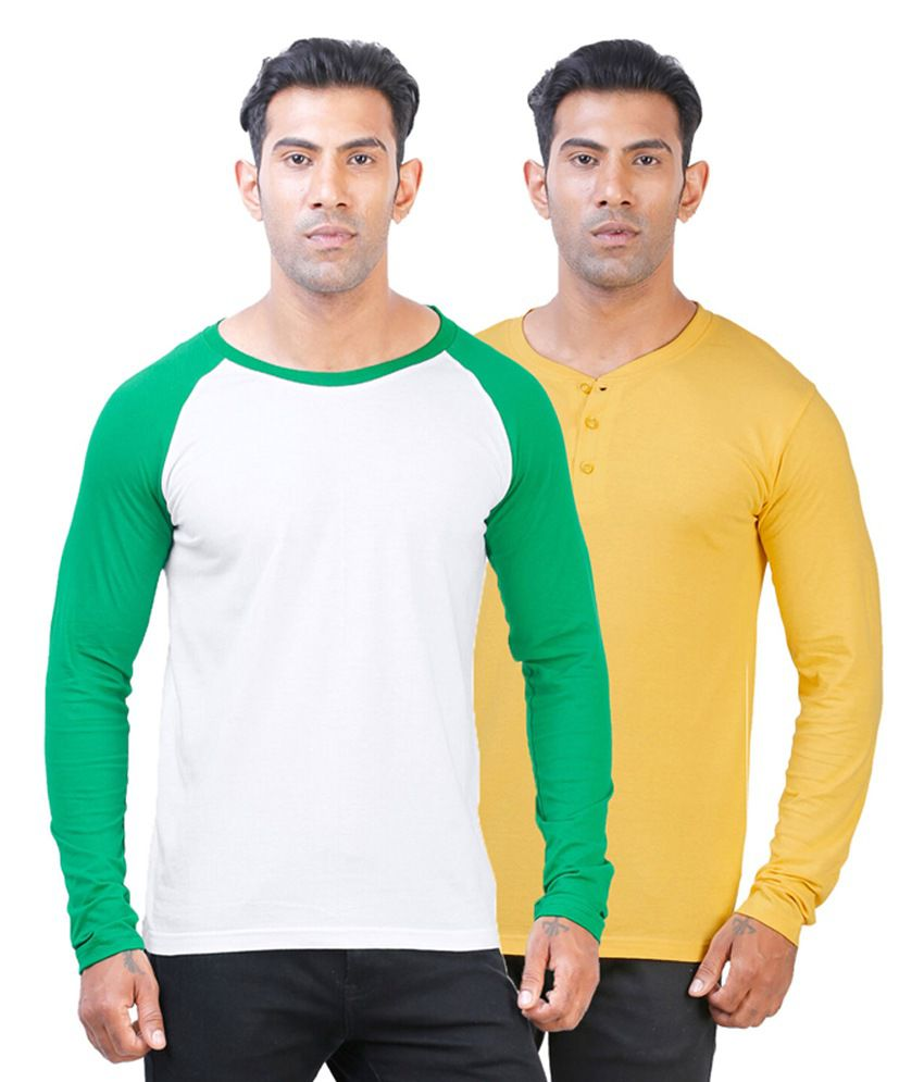 Street Junkies Yellow Henley & White Round Neck Cotton T-Shirts (Pack of 2)