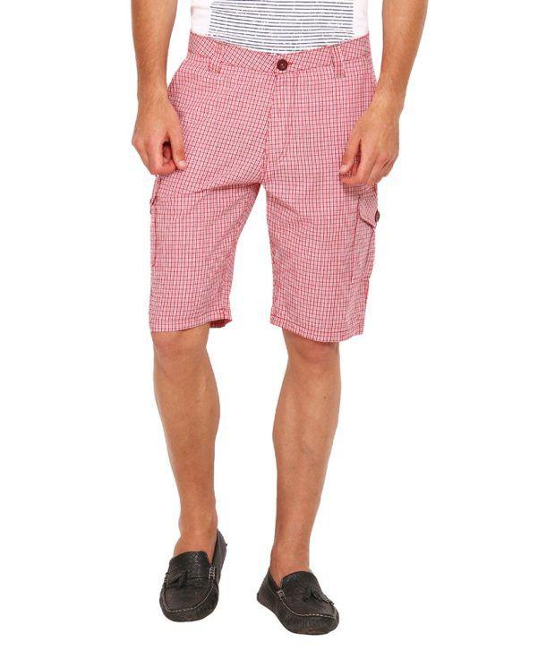 Wajbee Red & White Cotton Check Short