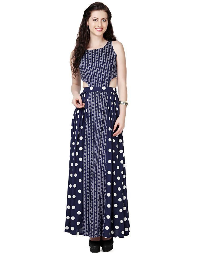 Eavan Navy Blue Printed Maxi Dress