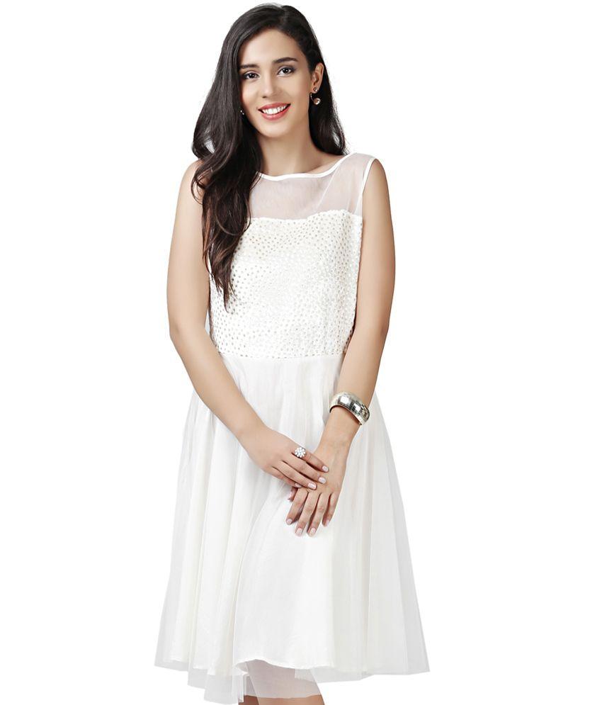 9c4f5c8e324 Eavan White Fit   Flare Dress - Buy Eavan White Fit   Flare Dress Online at  Best Prices in India on Snapdeal