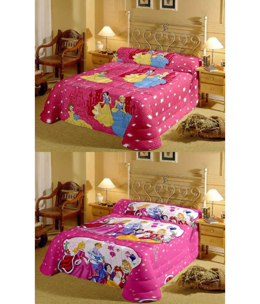 Renown Pink Barbie & White Princess Reversible Ac Blanket/Dohar Combo Set Of 2Pc