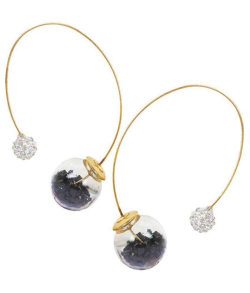 Maayra Black Alloy Hanging| Dangle Earrings