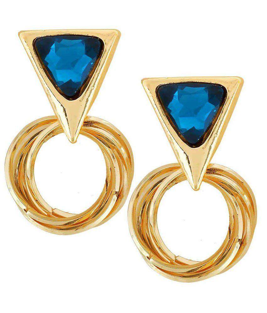 Maayra Blue Alloy Drop Earrings
