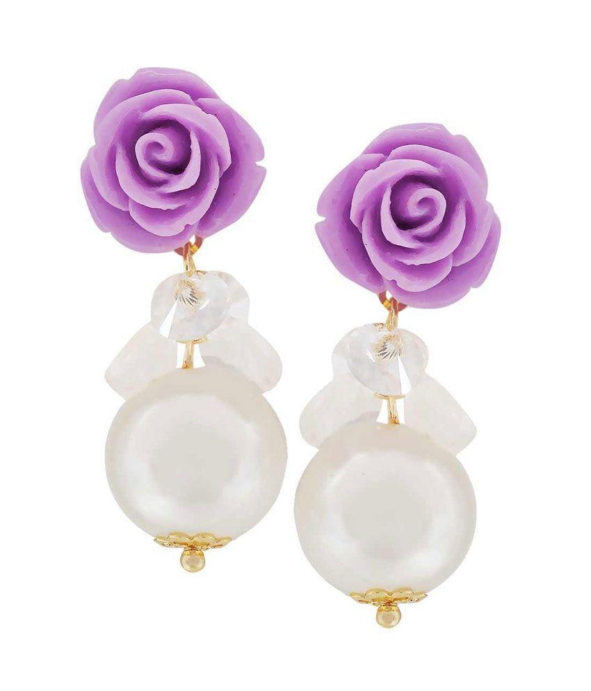 Maayra Purple Alloy Drop Earrings