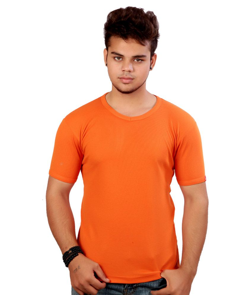 Prisum Garments Orange Cotton T Shirt Pack Of 10