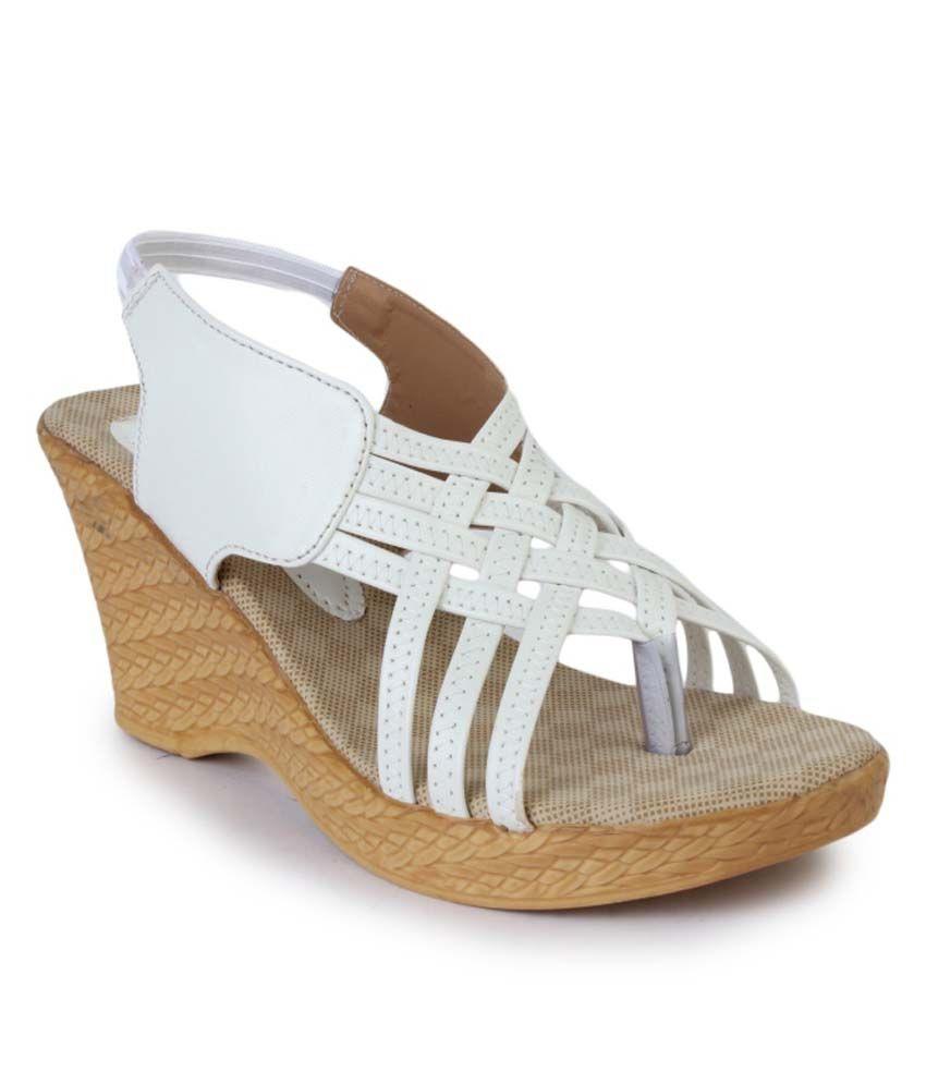 Vilax White Women Heeled Sandals