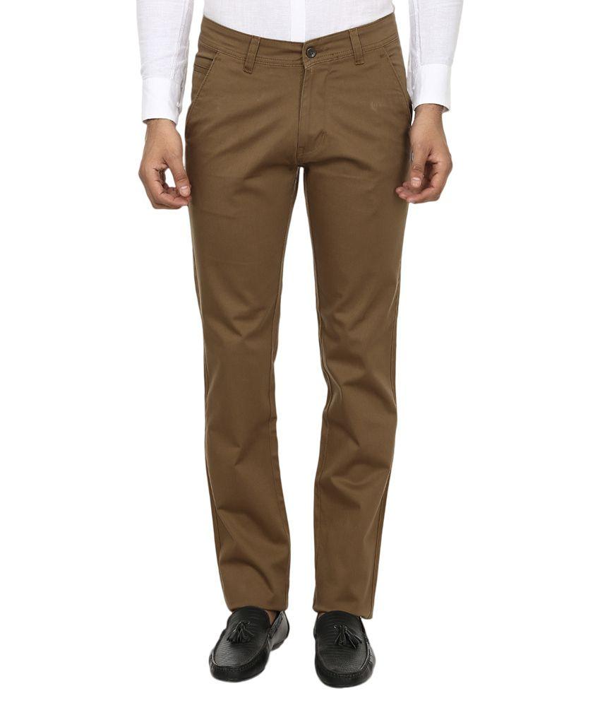 Zapnak Brown Cotton Blend Regular Fit Formal Trouser
