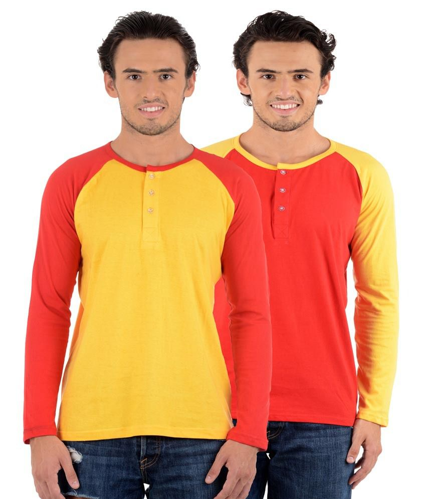 Big Idea Yellow & Red Henley T-Shirts - Pack Of 2