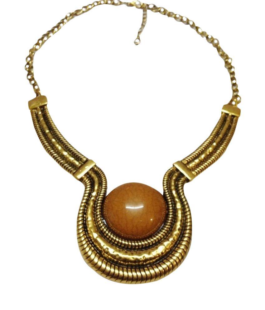 O Womaniya Golden Alloy American Diamond Necklace
