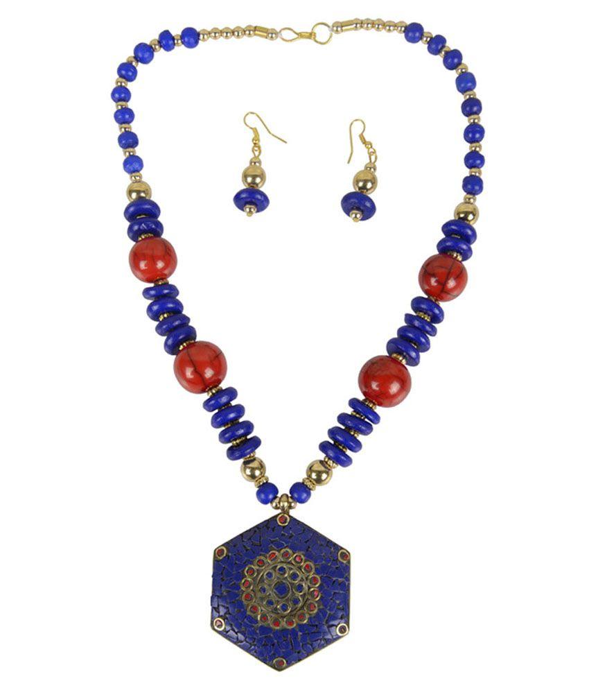 Taj Pearl Blue Coloured Beaded Designer Necklace