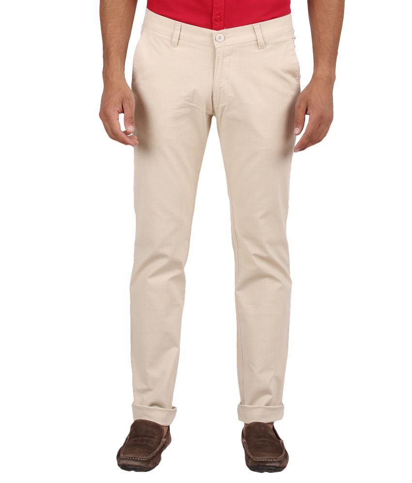 Volume Zero Beige Slim Fit Formal Flat Trouser