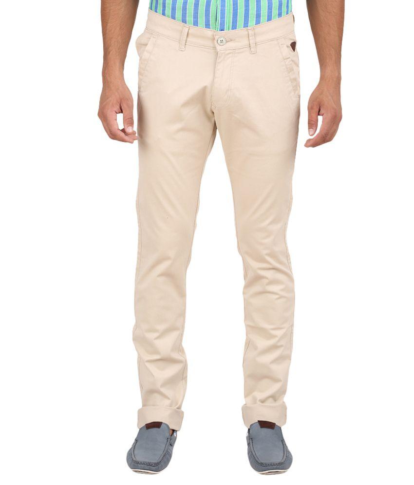 Volume Zero Beige Slim Fit Casual Flat Trouser