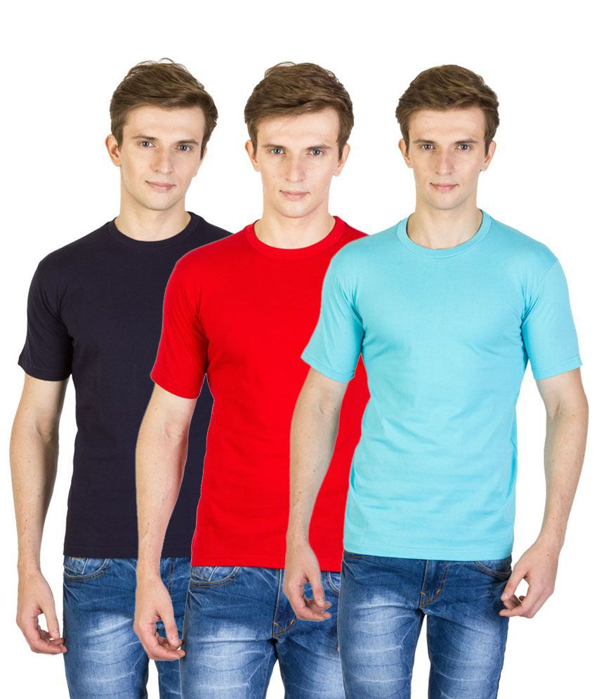 Value Shop India Pack of 3 Red, Navy Blue & Blue Cotton T Shirts for Men