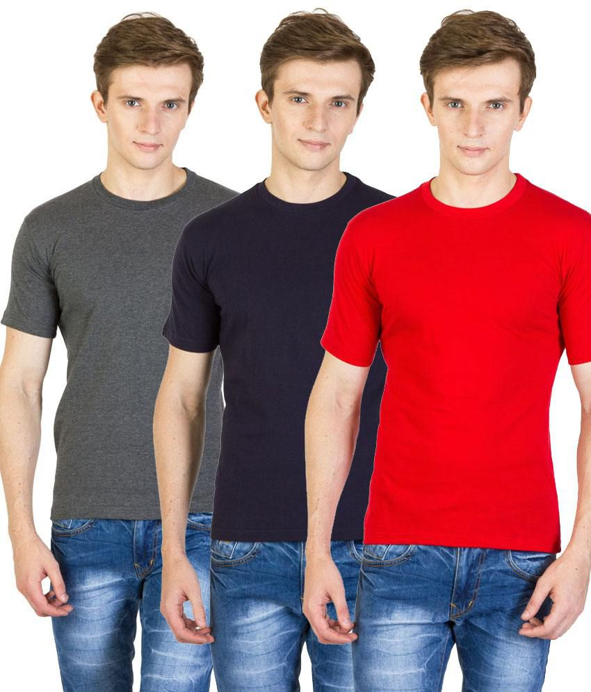 Value Shop India Pack of 3 Gray, Navy Blue & Red Cotton T Shirts for Men