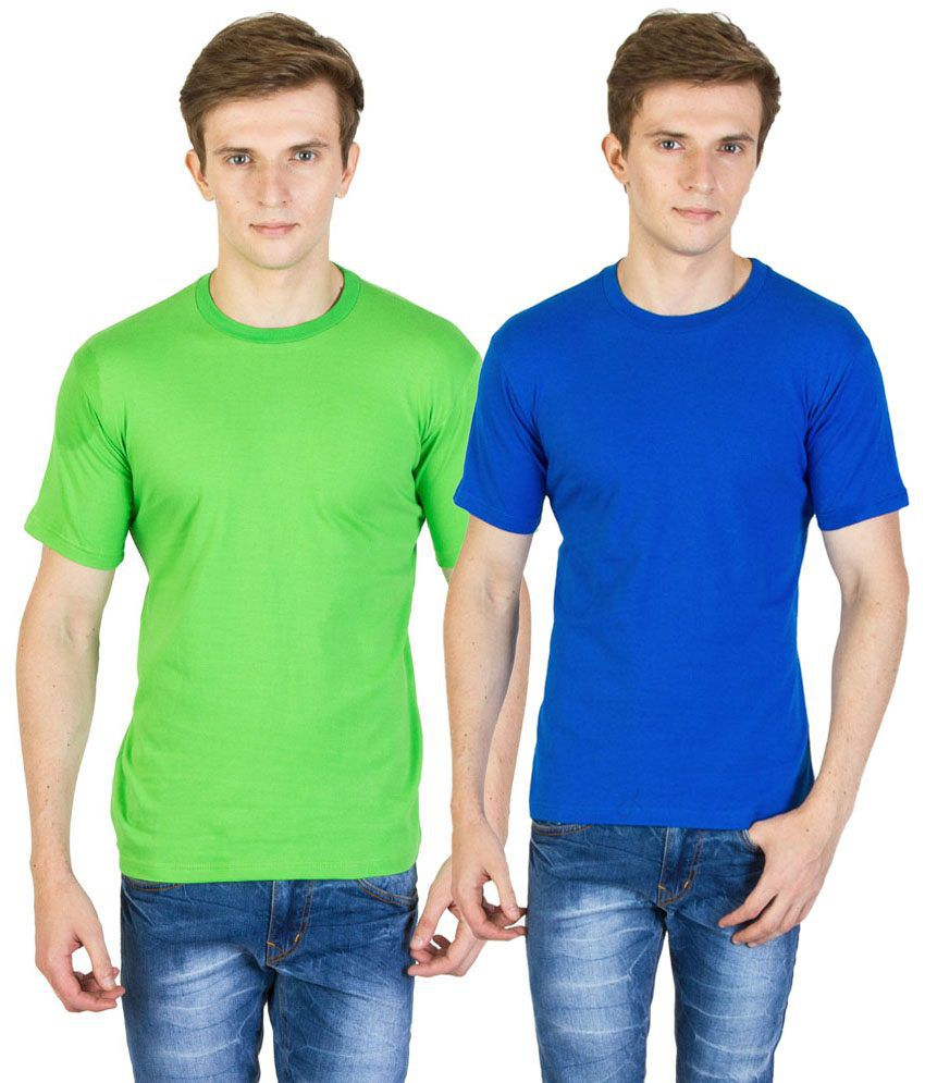 Value Shop India Pack of 2 Green & Royal Blue Cotton T Shirts for Men