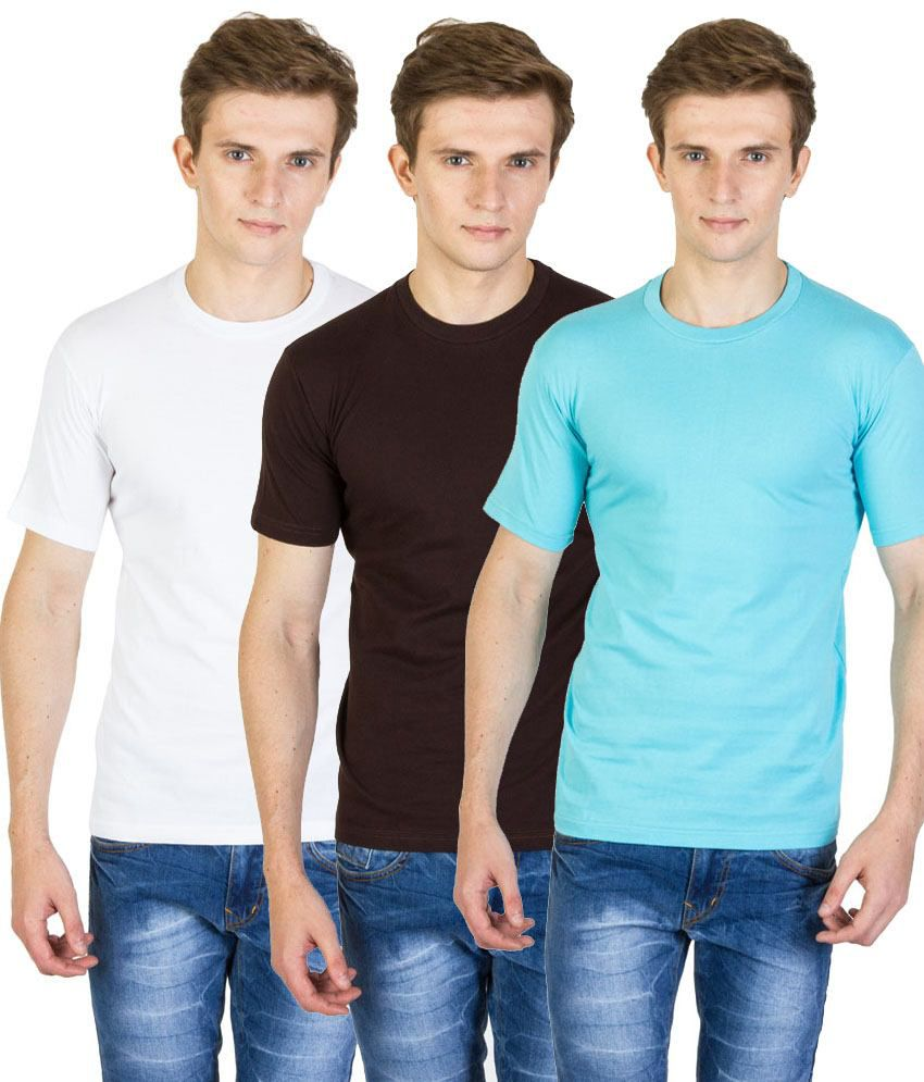 Value Shop India Pack of 3 Brown, Blue & White Cotton T Shirts for Men