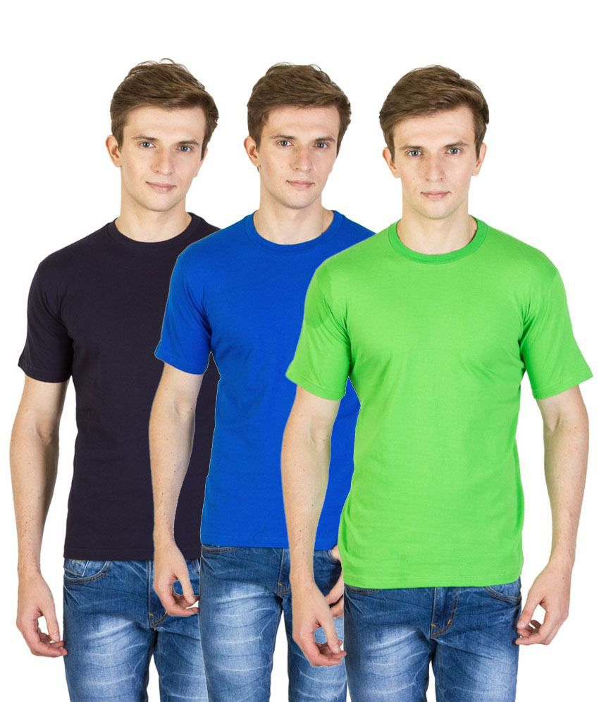 Value Shop India Pack of 3 Green, Navy Blue & Blue Cotton T Shirts for Men