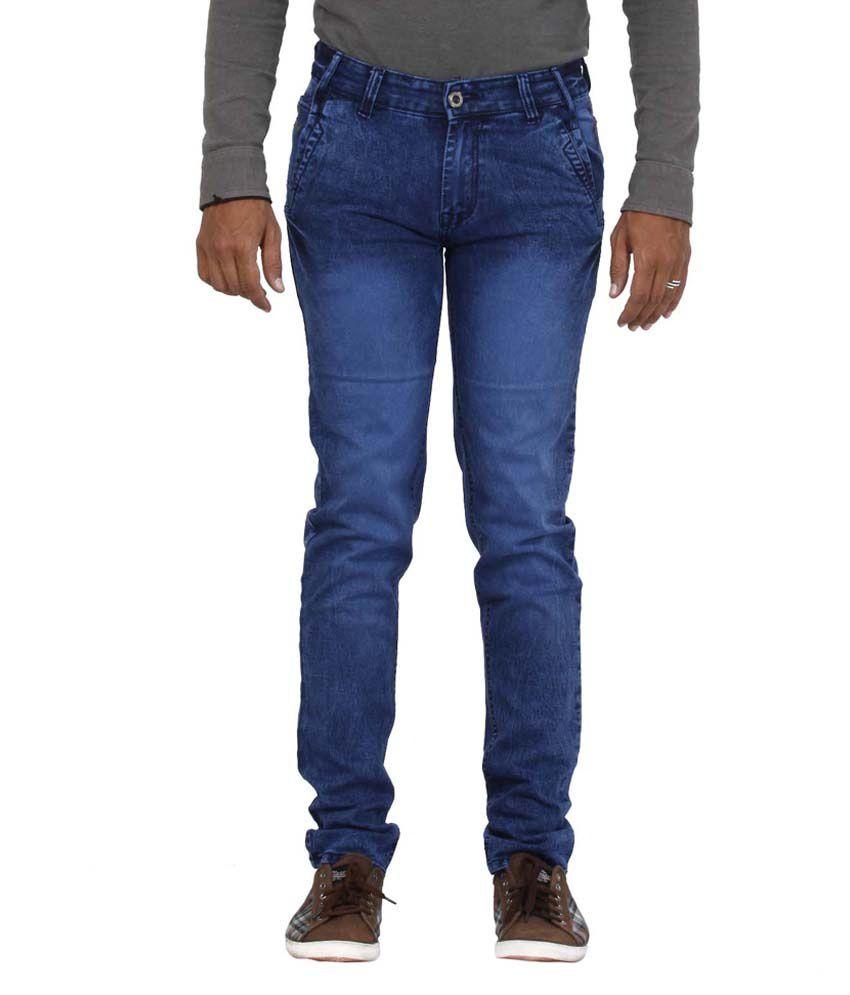 Jaxom Premium Blue Cotton Blend Slim Fit Jeans