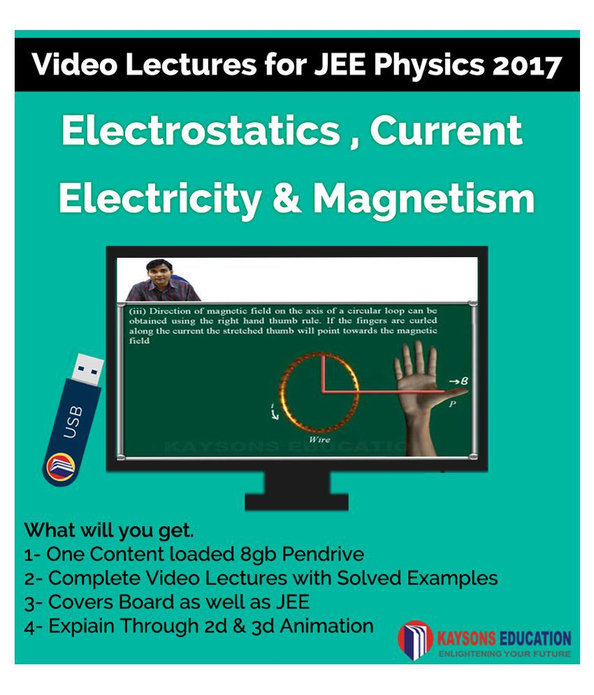 Kaysons Electrostatics current electricity & Electromagnetism Video Lectures for JEE Mains & Advance in Pendrive/Micro Sd Card