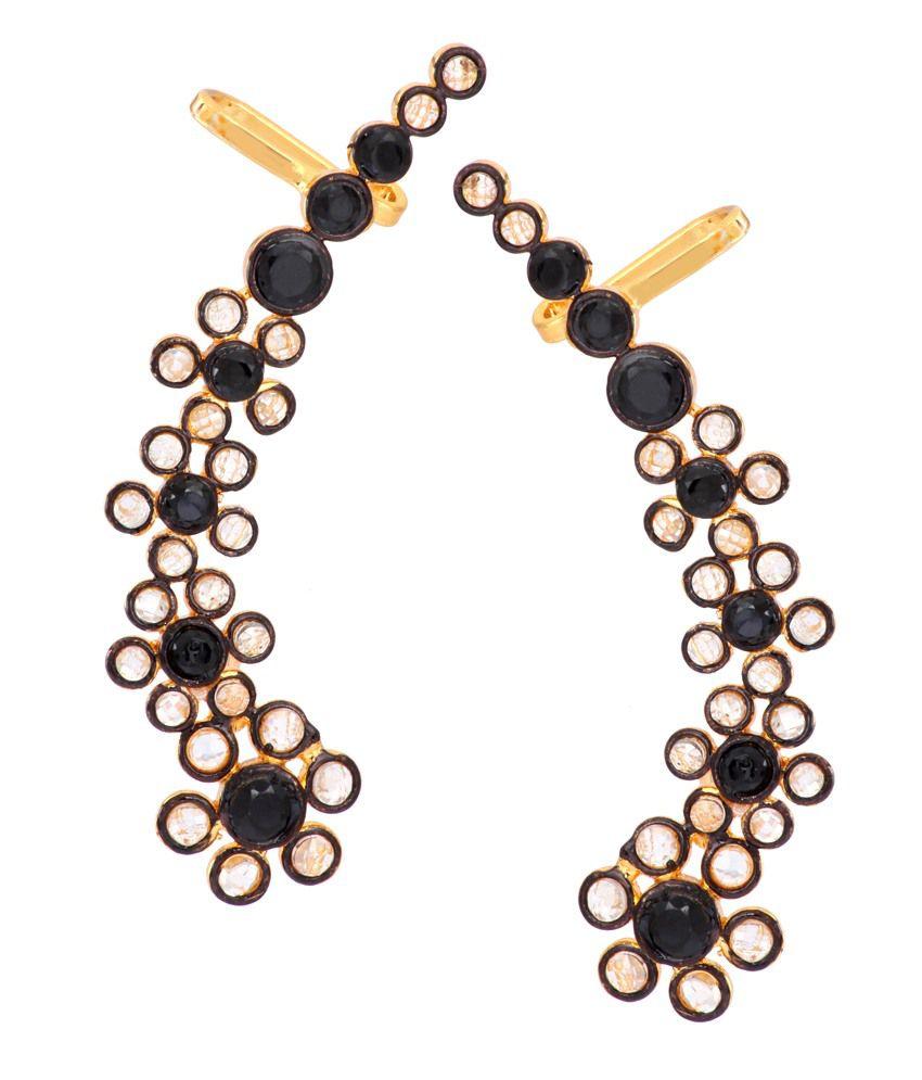 The Jewelbox Black Polki Brass Antique Ear Cuffs