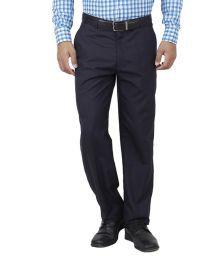 Frankline Navy Cotton Blend Regular Fit Trouser