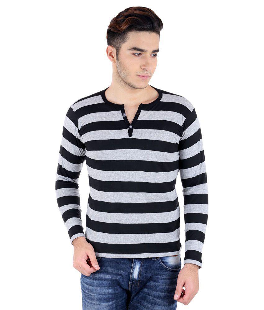 Black t shirt low price - Big Idea Smart Grey Black Striped Henely T Shirt