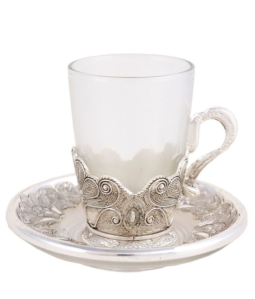76790501fb Craftghar Silver & Glass 6-piece Tea Cup & Saucer Set: Buy Online at Best  Price in India - Snapdeal