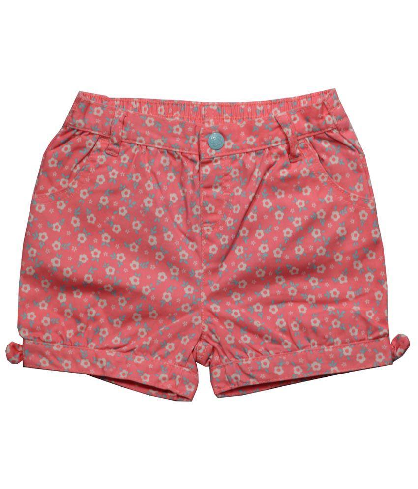 Little Flores Red Digital Print Cotton Shorts