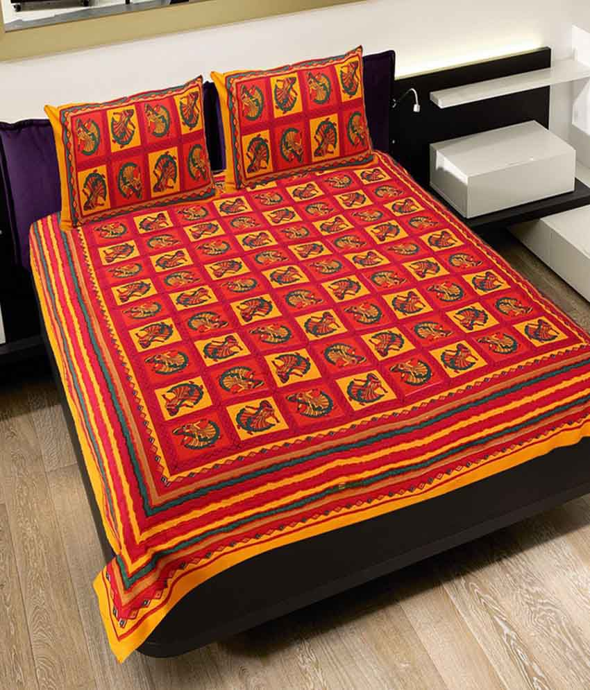 4ea54ad132a UniqChoice 100% Cotton Rajasthani Traditional Printed King Size Double  Bedsheet With 2 Pillow Cover - Buy UniqChoice 100% Cotton Rajasthani  Traditional ...