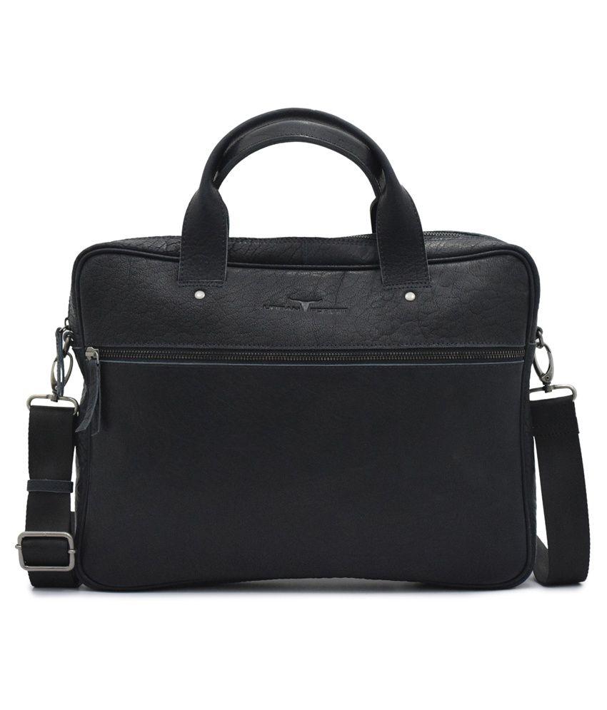 Urban Forest Denim Blue Leather Messenger Bag