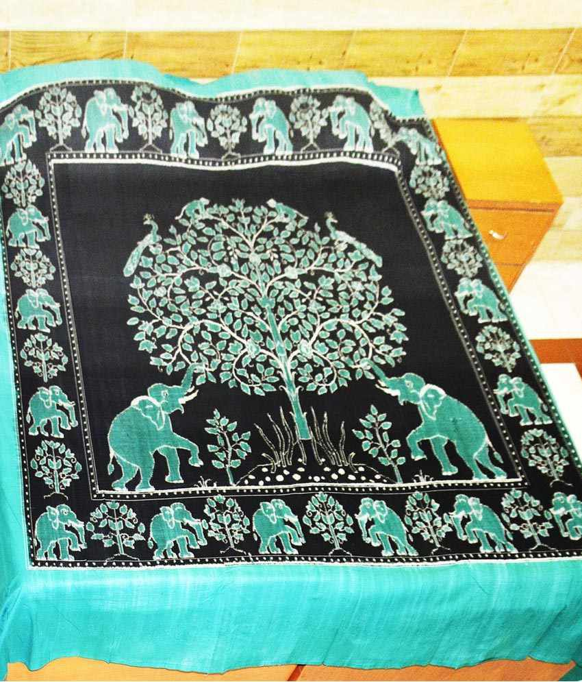 Utkalika Blue & Black Double Bedsheet with 2 Pillow Covers