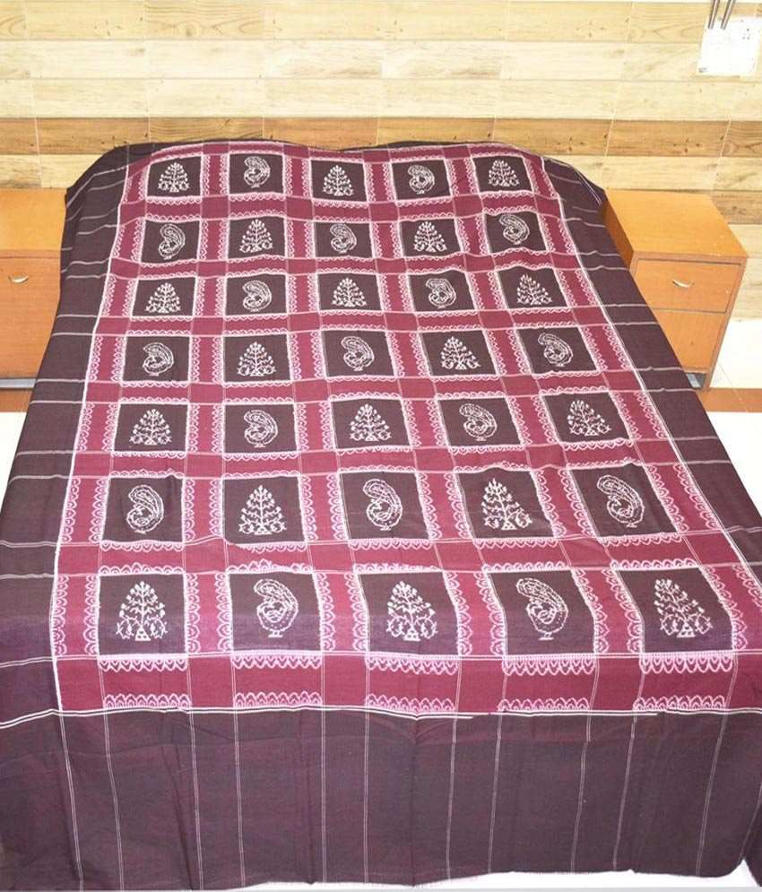 Utkalika Red & Brown Double Bedsheet with 2 Pillow Covers