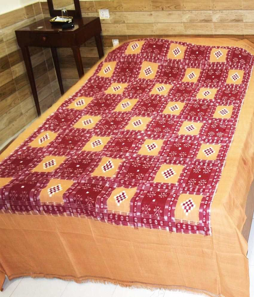 Utkalika Red & Orange Double Bedsheet with 2 Pillow Covers