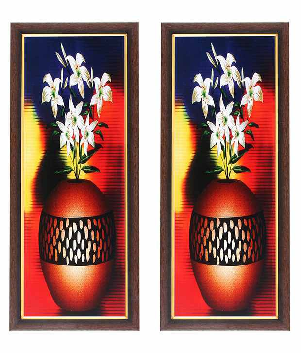 Wens White Flower With Pot Wall Painting (Buy 1 Get 1)
