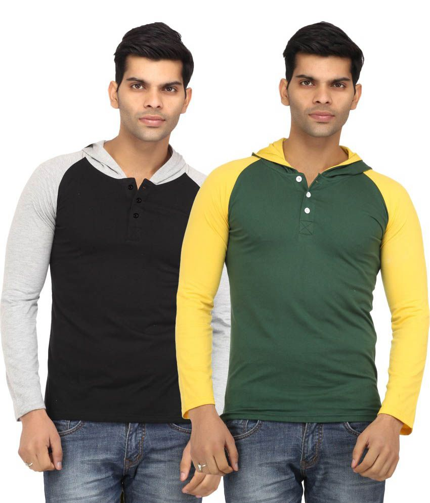 Leana Multicolour Cotton Hooded T Shirt (Pack Of 2)