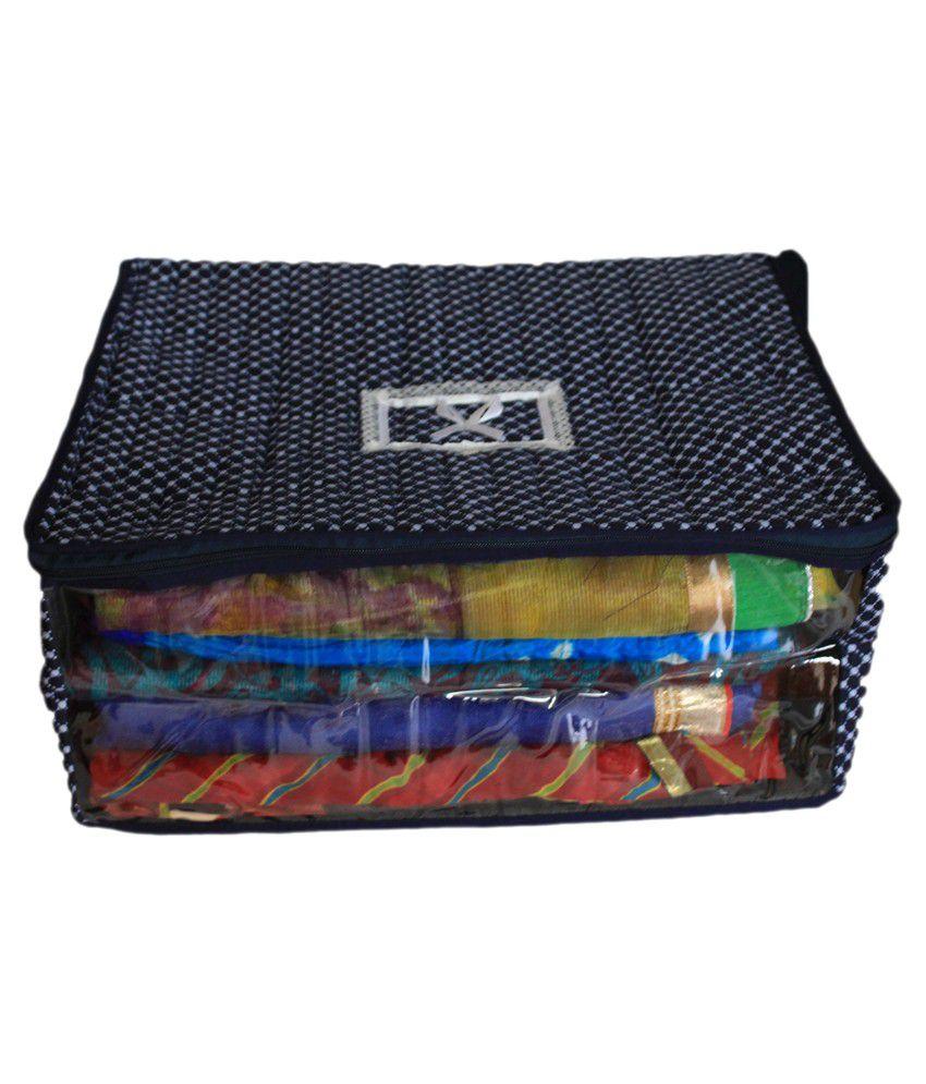 Ombags&more Navy Blue Cotton Saree Cover (Keep Upto 12 Sarees)