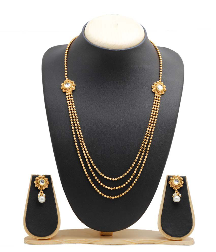 Party Queen Golden Alloy Necklace Set