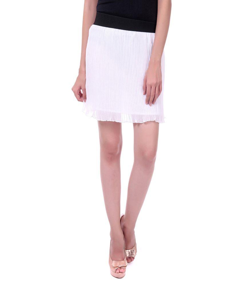 buy sassafras accordion pleated white skirt at best