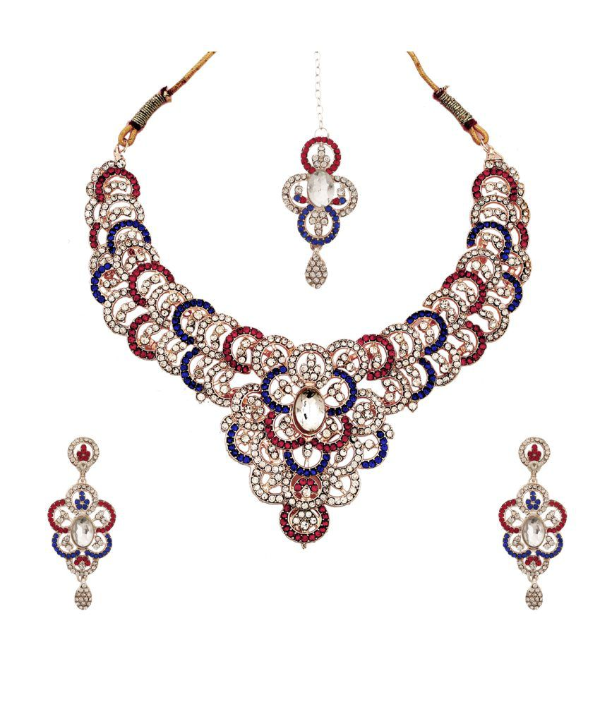 Triangle Multicolor Contemporary Alloy Bridal Necklace Set