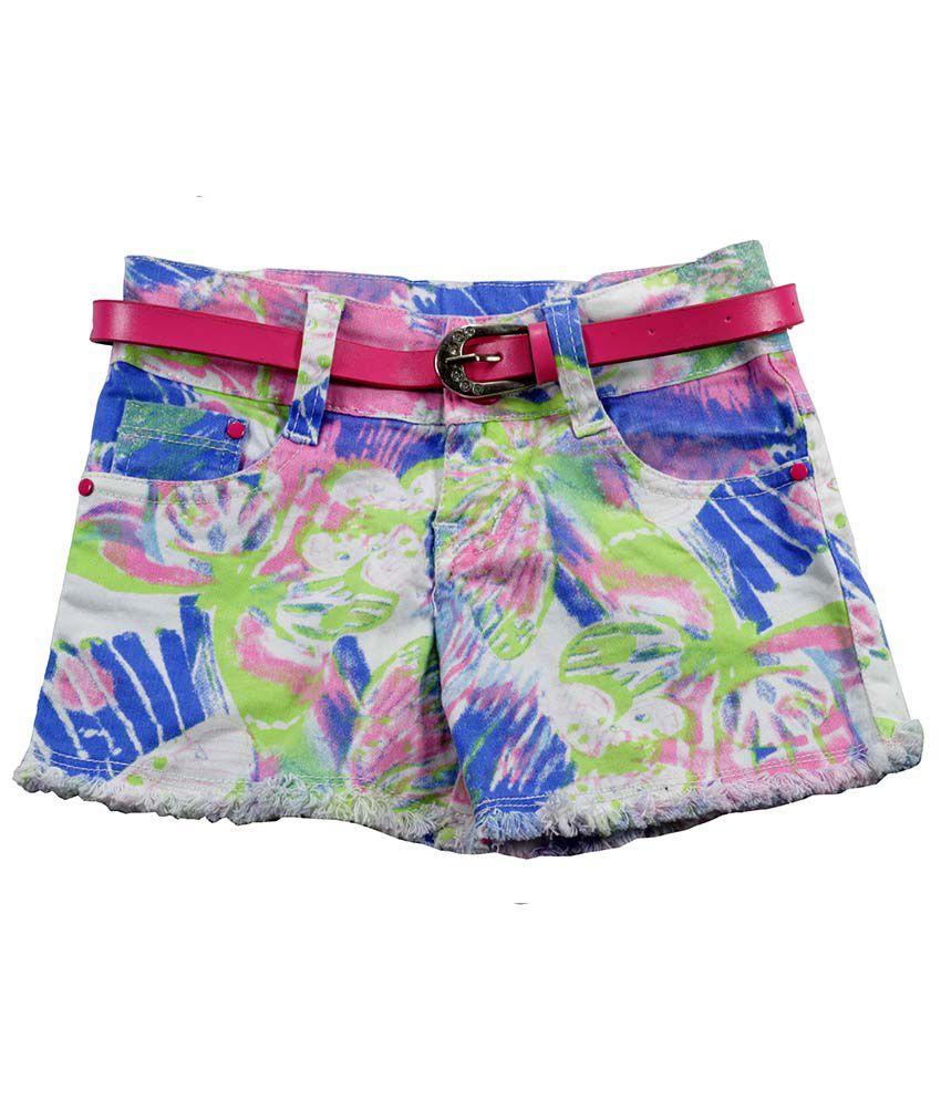 Little Flores Multi Digital Print Cotton Shorts