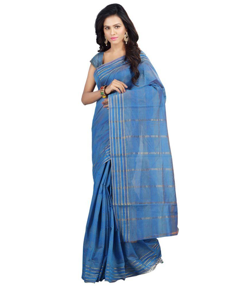 Minaxi Blue Cotton Saree