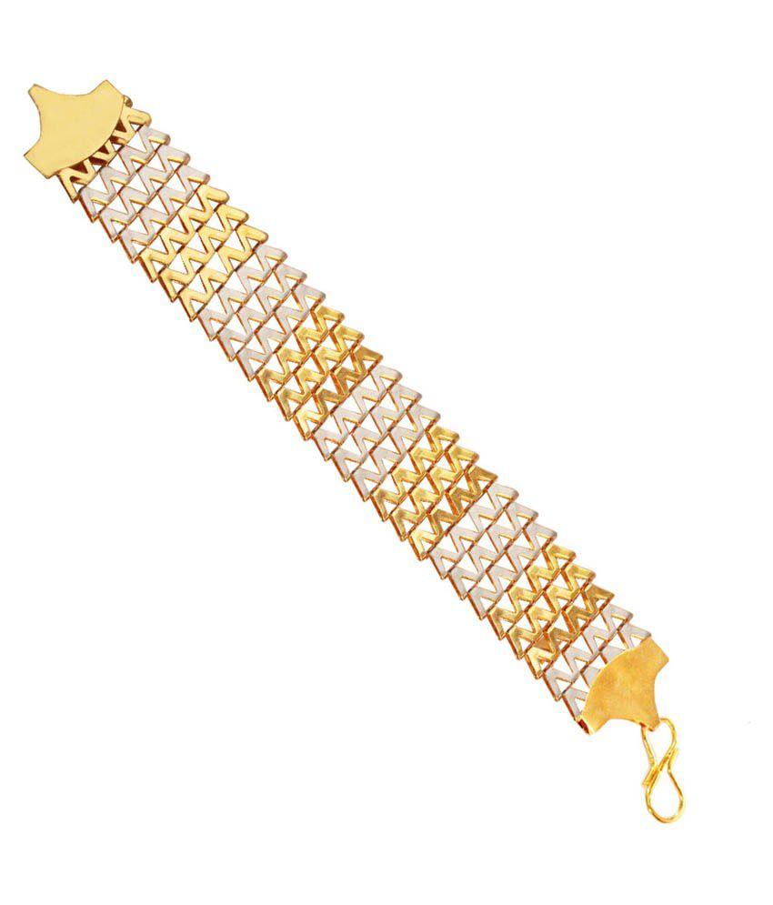 Rich & Famous Golden & Silver Alloy Bracelet