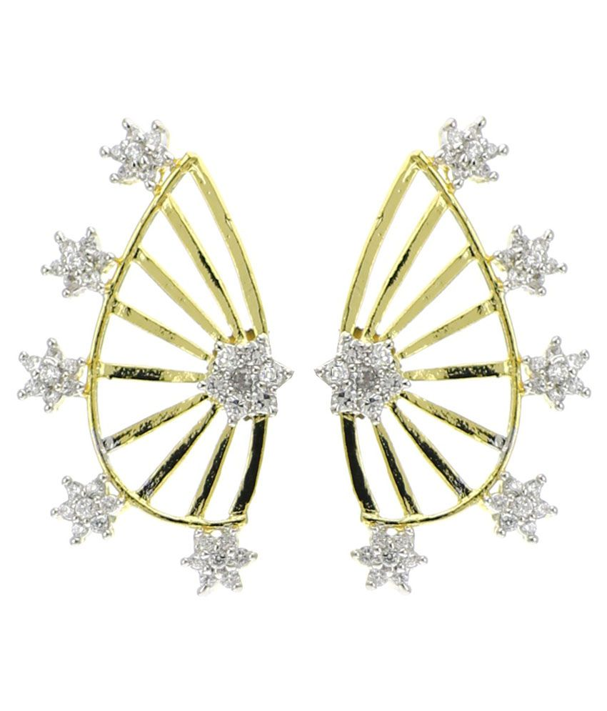 Youbella Golden American Diamond Designer Ear Cuffs