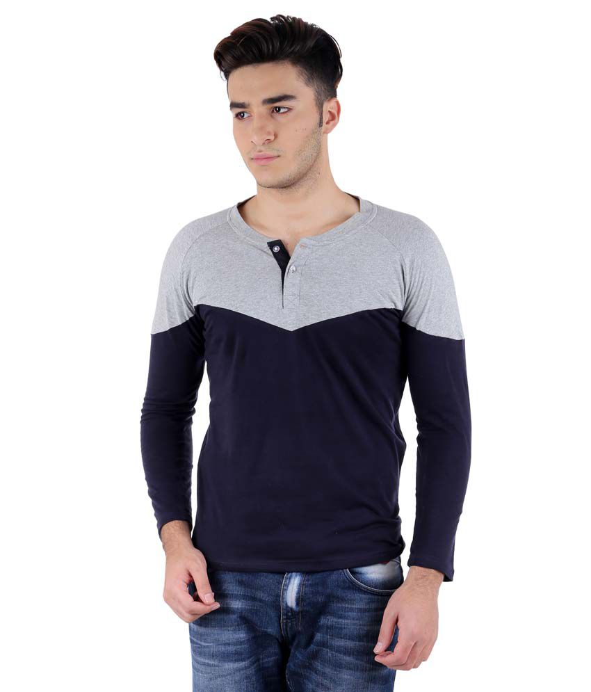 Big Idea Designer Light Grey-Navy Henely T-Shirt